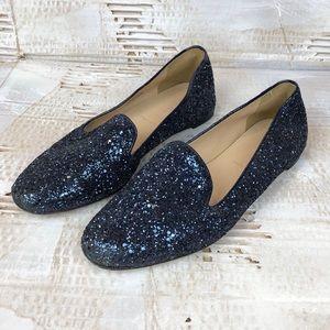 J. Crew Darby glitter loafers blue 6